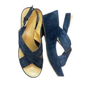 J. Crew Women's Navy Blue Velvet Platform Sandals.